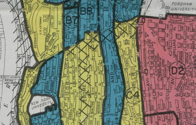 A section from a Home Owner's Loan Corporation map of the Bronx. Green was good (white). Yellow was iffy (mixed). Red was a place to avoid.