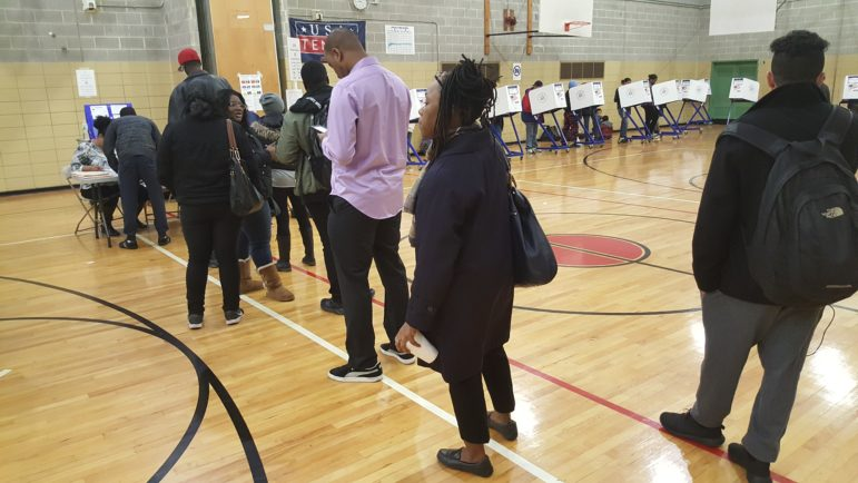 Turnout was steady at I.S. 174 throughout the day, poll workers said. Arrivals increased as the sun set.