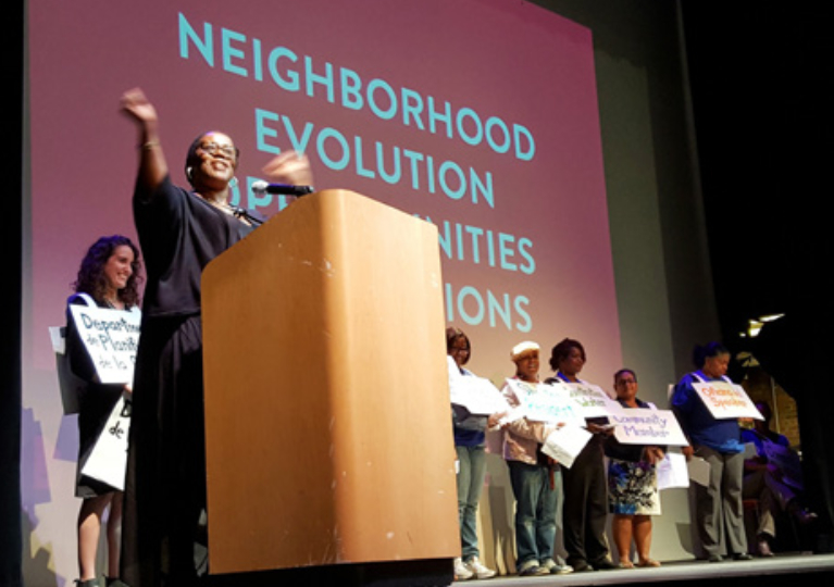 A photo from the East Harlem Neighborhood Plan showing one of the community outreach sessions conducted during the plan's preparation. The author believes that process operated quietly and selectively in a community where many residents might prefer no rezoning at all.