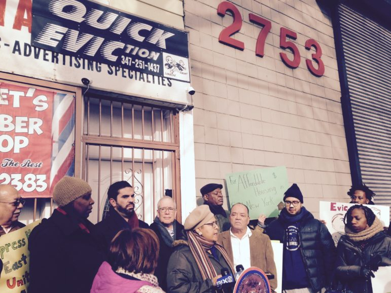 Saturday's protest outside an eviction-services firm.