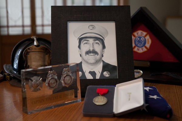 A memorial in the home of the late Captain Vincent Fowler, who died in a 1999 fire.