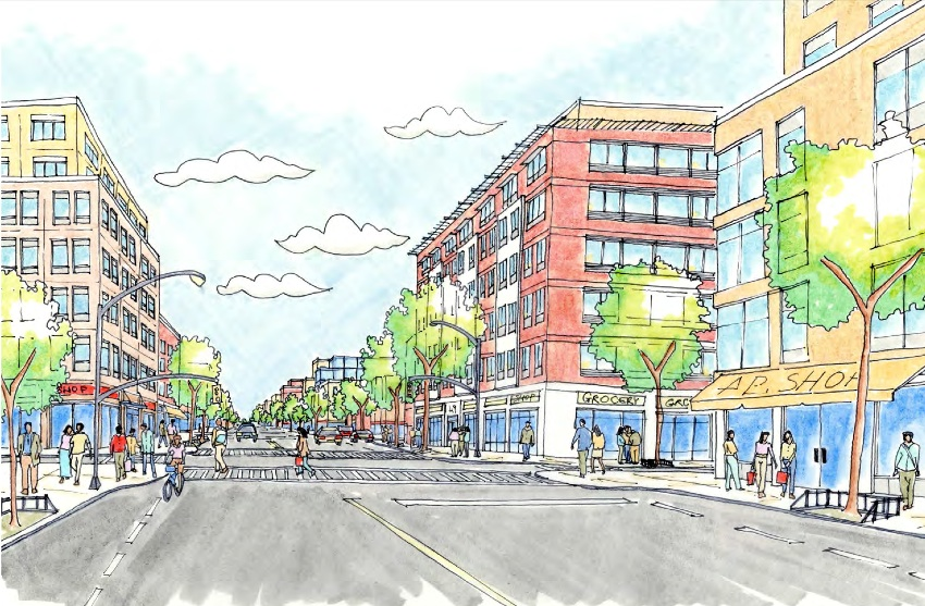 A rendering from a City Planning study depicts a new and improved Pitkin Avenue.