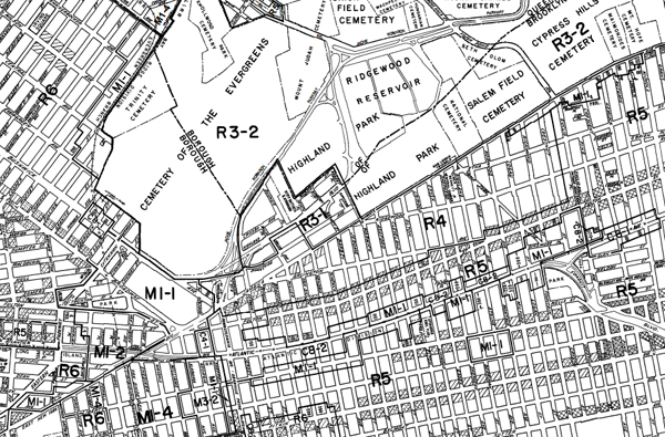 A portion of the city's zoning map.
