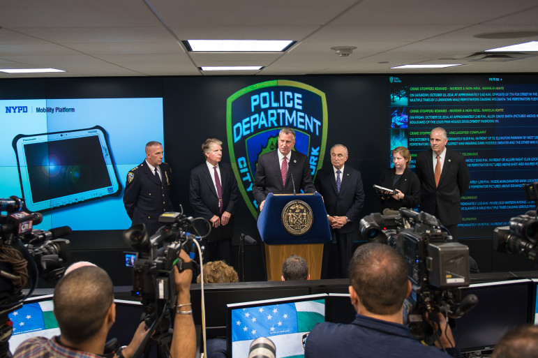 Mayor Bill de Blasio, Commissioner Bill Bratton and District Attorney Cyrus Vance announce initiative to enhance NYPD mobile communications. Thursday, October 23, 2014.