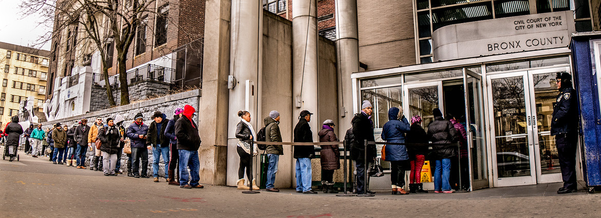 The line outside Bronx Housing Court on a typical morning.
