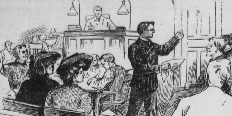 A courtroom sketch depicts a 1904 trial. Statistics indicate the racial makeup of attorneys in 2015 is still overwhelmingly white.