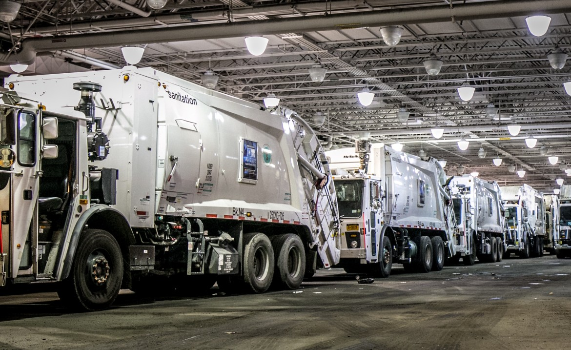 Sanitation trucks parked at a New York City of Department of Sanitation facility on Varick avenue in Brooklyn.