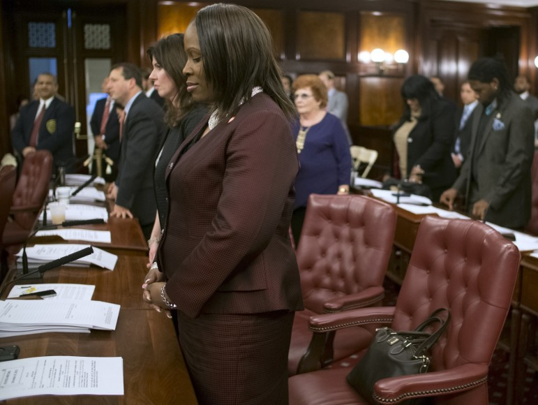 Bronx Councilmember Vanessa Gibson in prayer before a December 2013 stated meeting.