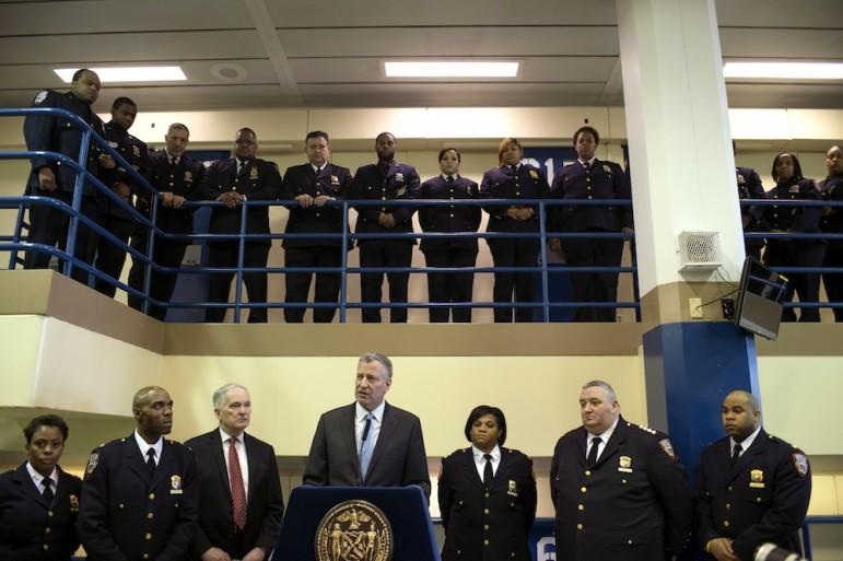 Mayor Bill de Blasio and Correction Commissioner Joe Ponte announce in March a 14-point plan to aggressively combat violence and promote a culture of safety on Rikers Island.