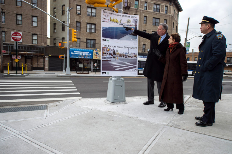 Mayor Bill de Blasio makes a Vision Zero-related announcement with DOT Commissioner Polly Trottenberg in the Bronx in  January, 2015.