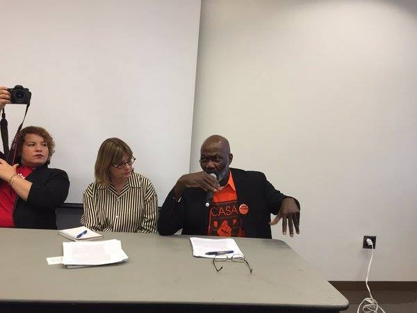Photographer Rhynna Santos, HPD Commissioner Vicki Been and CASA tenant leader Fitzroy Christian at Sunday's panel.