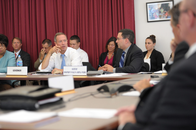 Then-Gov. Martin O'Malley participates in a tabletop disaster-preparedness exercise in 2014.