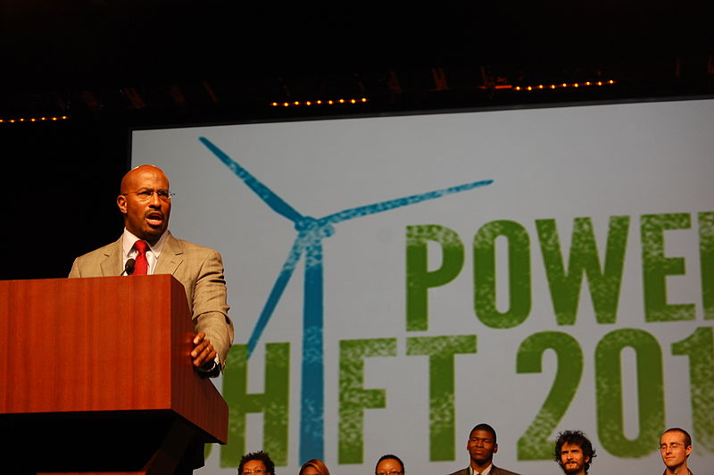 Van Jones, the writer and advocate, is widely credited with introducing the term 'green jobs' into common use.