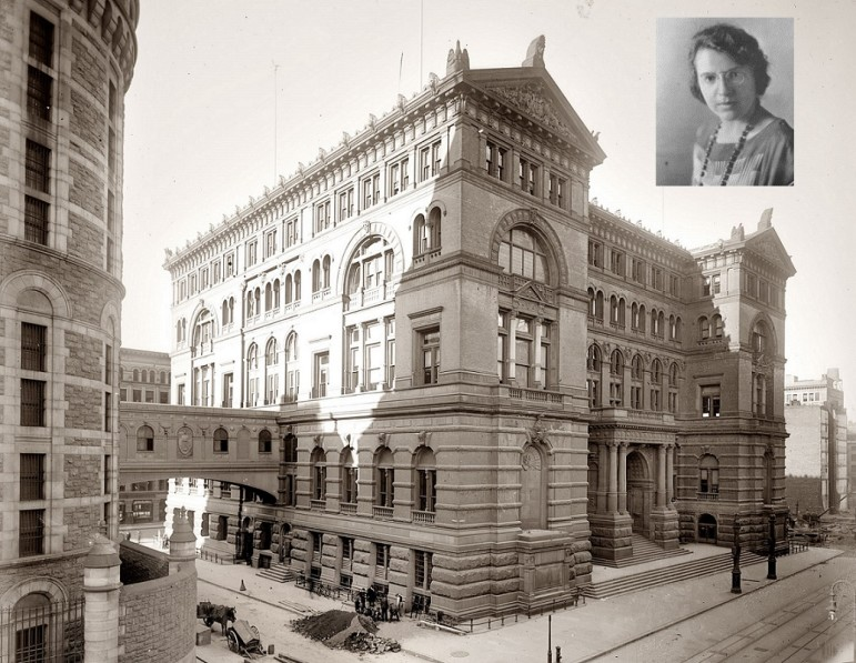 Anna M. Kross (inset) and the infamous Tombs Prison in downtown Manhattan, seen in 1907.