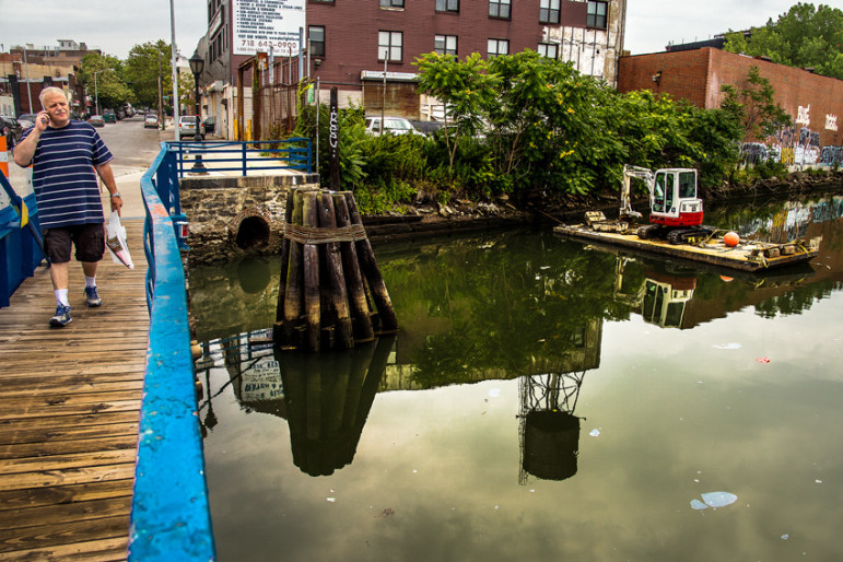 View from Carroll Street Bridge over the Gowanus canal in Brooklyn New York, looking southeast