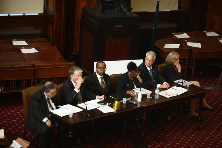 DA Kenneth Thompson, third from left, testifying before the City Council's public safety committee earlier this month along with, from left to right, Queens' Richard Brown, Manhattan's Cyrus Vance, Darcel Clark of the Bronx, Michael McMahon of Staten Island and special narcotics prosecutor Bridget Brennan.