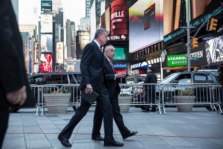 Commissioner Bratton and Mayor de Blasio on their way to meet reporters to discuss New York's precautions after the Belgium attacks.