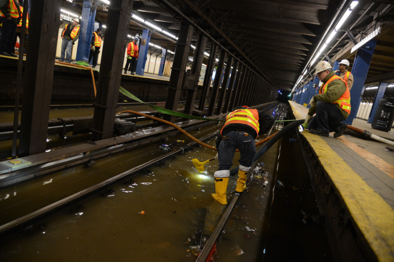 A water main break in a subway tunnel last April. If the city adds tens of thousands of housing units without adequate attention to infrastructure needs, that new and larger city might not be sustainable.