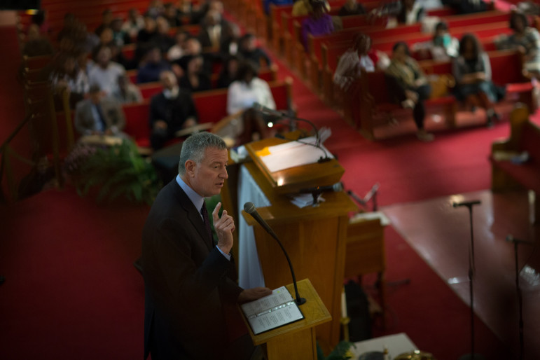 Mayor de Blasio speaks at Calvary Baptist Church in Queens on Sunday. His housing plan is faced with a challenge common to such initiatives: Should the city aim to generate more apartments, or emphasize creating units that affordable to poorer people?