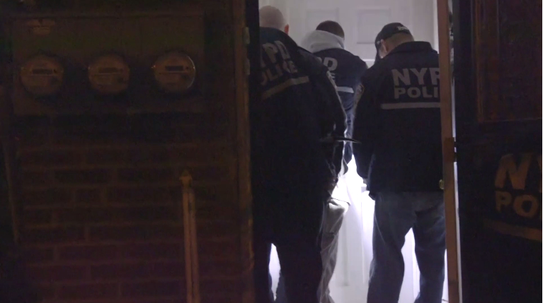 A scene from an NYPD video about the April 26-27 raids.