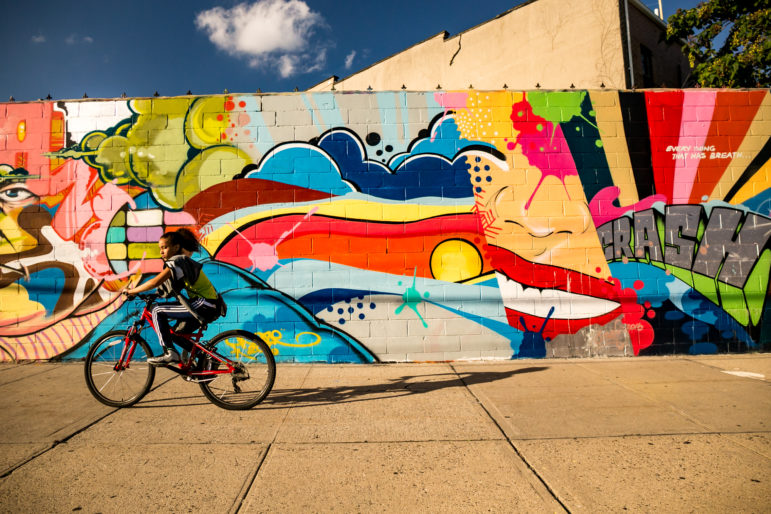 The Welling Court Mural Project near the Astoria waterfront, predates the demise of Five Pointz.
