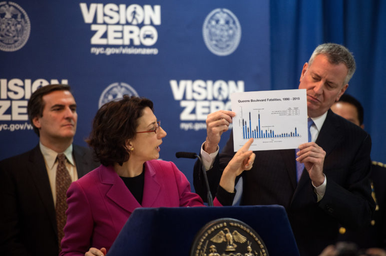 Mayor de Blasio at a briefing about the first two years of Vision Zero. The author argues that during those first years, the NYPD has ignored the most dangerous illegality on the city's streets.