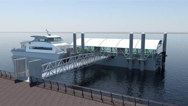 An illustration of what the coming Red Hook landing will look like.