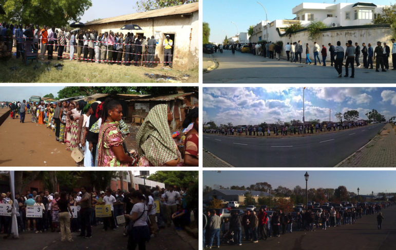 Voting lines around the world: Guinea, South Sudan, Ohio, Venezuela, Tunisia, South Africa.