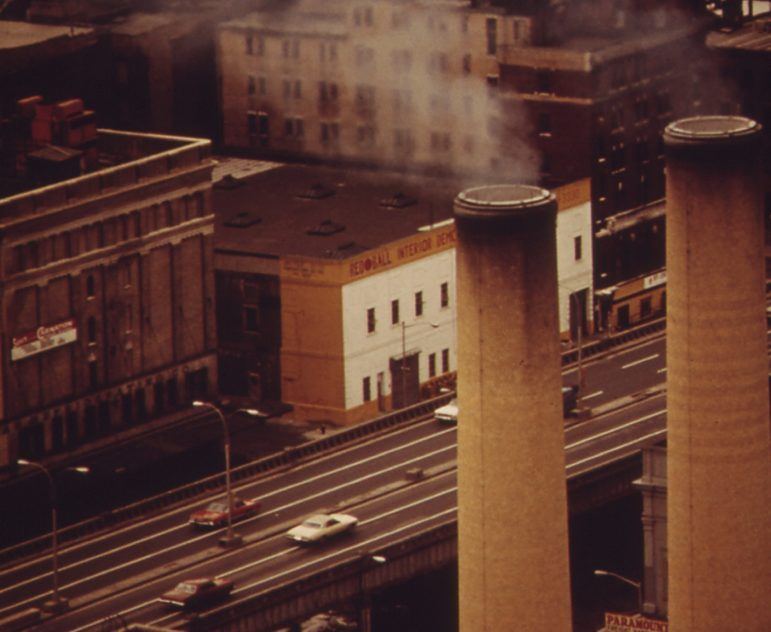 Brooklyn 1973: Power plant smokestacks, the BQE and the neighborhood around it.