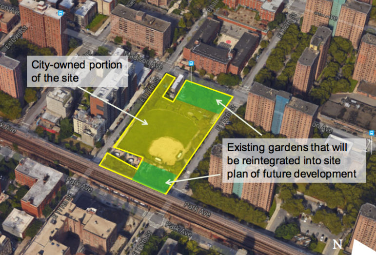 A diagram from HPD literature about potential uses for a publicly owned site on 111th Street in East Harlem.