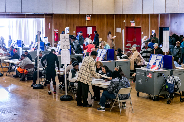 Inside the polling place at the community center auditorium located at 177 Dreiser loop in Co-op City. This location was the largest of three serving residents of Co-op city.