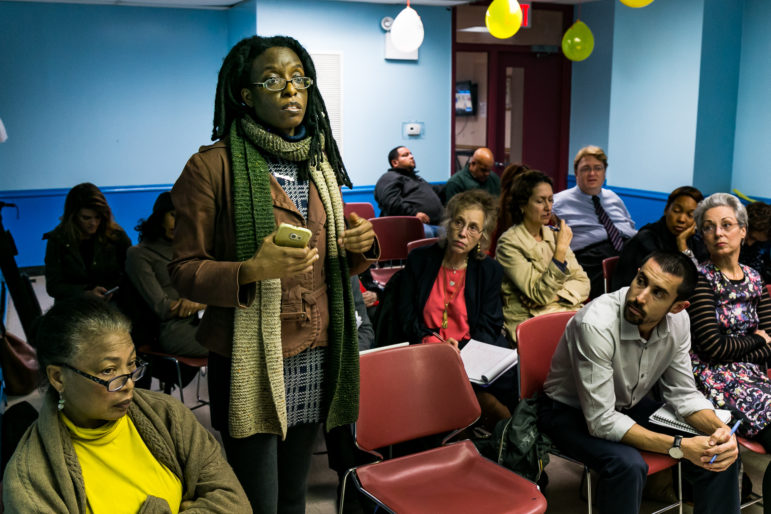 Marie Winfield. asking a question during the Department of City Planning's presentation of it's draft rezoning framework for East Harlem at Community Board 11's Land Use, Landmarks & Planning Committee meeting on November 9th.