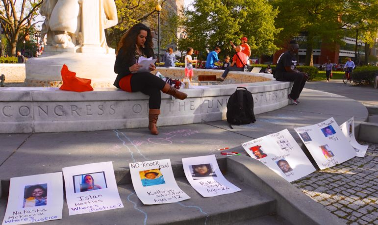 A vigil in Washington, D.C., for trans women who were victims of violence.