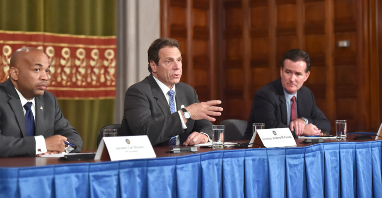 Assembly Speaker Carl Heastie, Gov. Andrew Cuomo and Senate Majority leader John Flanagan (seen in 2015) might oversee some year-end dealmaking on 421-a and other issues.