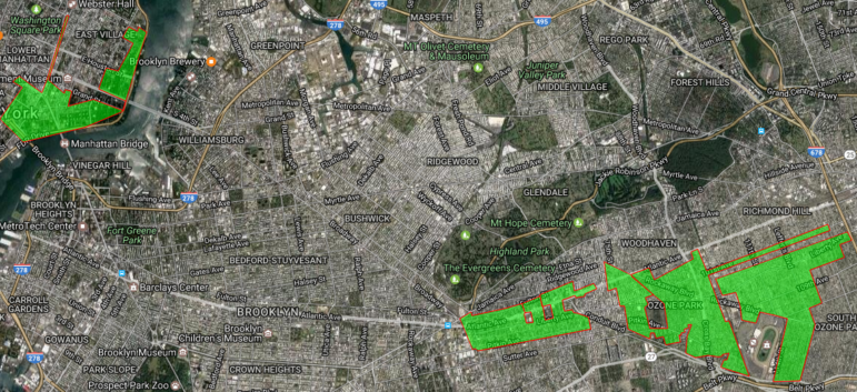 Figure shows approximate rezoning areas. From left to right: Chinatown Working Group plan, De Blasio's East New York plan, Bloomberg's 2013 Ozone Park plan (the Ozone Park plan appears as two adjacent separate shapes on this map).
