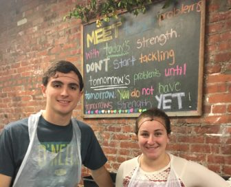 Hugh Lagrotteria and Nicole Benevento, volunteers at POTS.