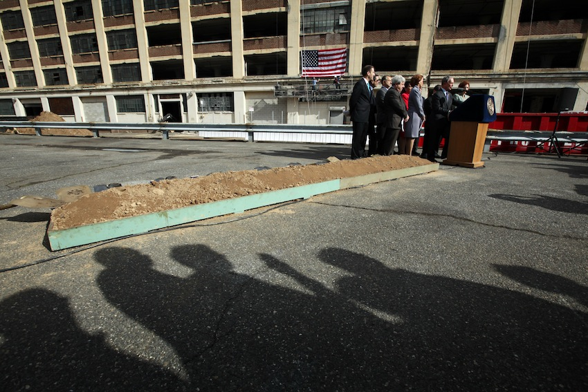 Mayor Bloomberg and other officials at a 2011 groundbreaking for new industrial space. The Bloomberg administration launched programs to aid manufacturing, but also oversaw rezonings that threatened it. Mayor De Blasio's approach remains to be seen.