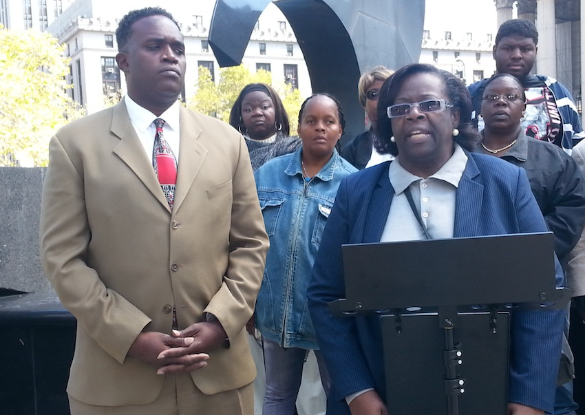 William Moore and Verdell Mack at a September 15 press conference alleging irregularities in the polling for their respective Assembly races on Primary Day.