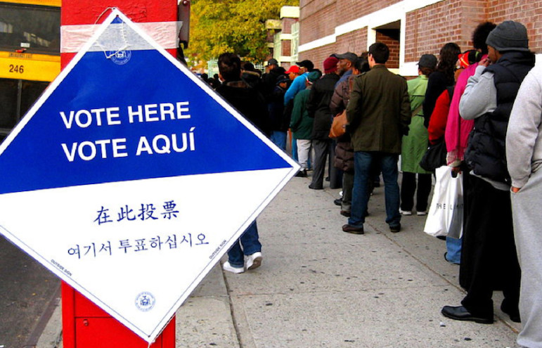 A line outside a voting site in Brooklyn in 2008. A more common site in city elections is poll workers with hardly anyone to serve.