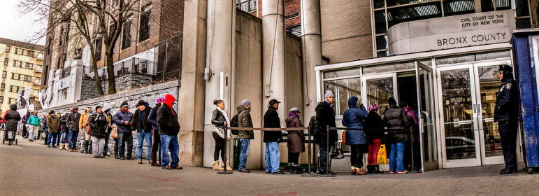 A long line of tenants waiting to enter is a daily sight outside Bronx housing court. Our 2015 housing court investigation was part of the honored coverage.