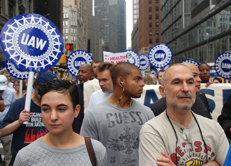 Members of the United Auto Workers in the September climate march in Manhattan.