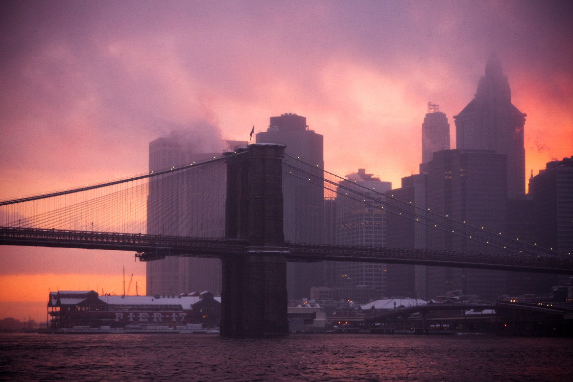 Brooklyn Bridge Sunset in Snowstorm