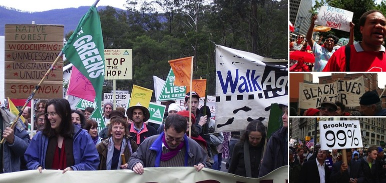 Greens march in Australia at left. At right, from top to bottom: Tenants rally, a January march in New York City and an image from Occupy. Each movement is different, but whether in Canarsie or Canberra, successful movements are about good organizing around a common set of goals.