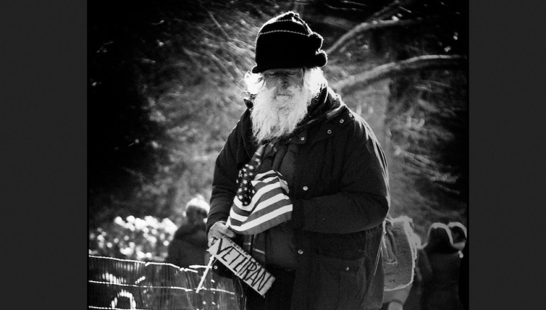 A homeless veteran seen in New York City in 2008.