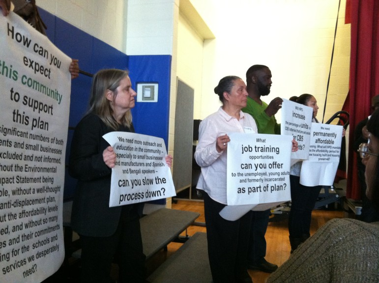 East New York residents presented some of their concerns about the de Blasio administration plans at a recent meeting.