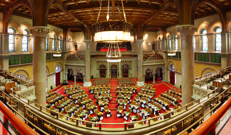 The New York State Assembly chamber. Some tenant advocates say their hopes for protecting or expanding rent regulations hinge on getting this body to take a hard line in negotiations with the landlord-friendly Senate.