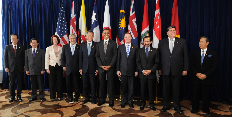 A summit with leaders of the member states of the Trans-Pacific Strategic Economic Partnership Agreement (TPP). Pictured, from left, are Naoto Kan (Japan), Nguyễn Minh Triết (Vietnam), Julia Gillard (Australia), Sebastián Piñera (Chile), Lee Hsien Loong (Singapore), Barack Obama (United States), John Key (New Zealand), Hassanal Bolkiah (Brunei), Alan García (Peru), and Muhyiddin Yassin (Malaysia).