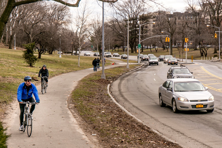 Biking along Mosholu Parkway in the Northwest Bronx, part of the Bronx Greenway.