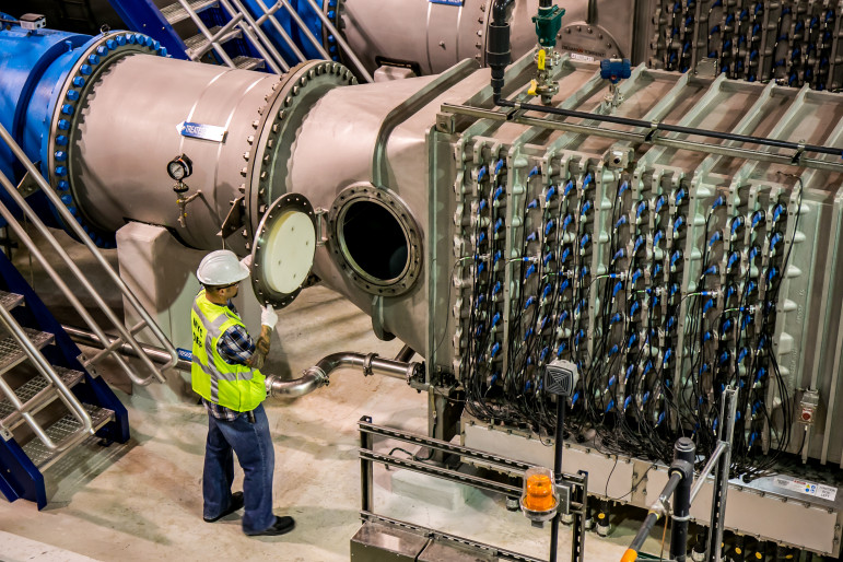 Inside the DEP's ultraviolet treatment facility, one of the complex and expensive mechanisms that helps deliver a billion gallons of water to the city each day.