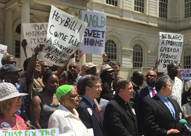 Protesters laid blame for NYCHA's ills on Mayor de Blasio's doorstep.